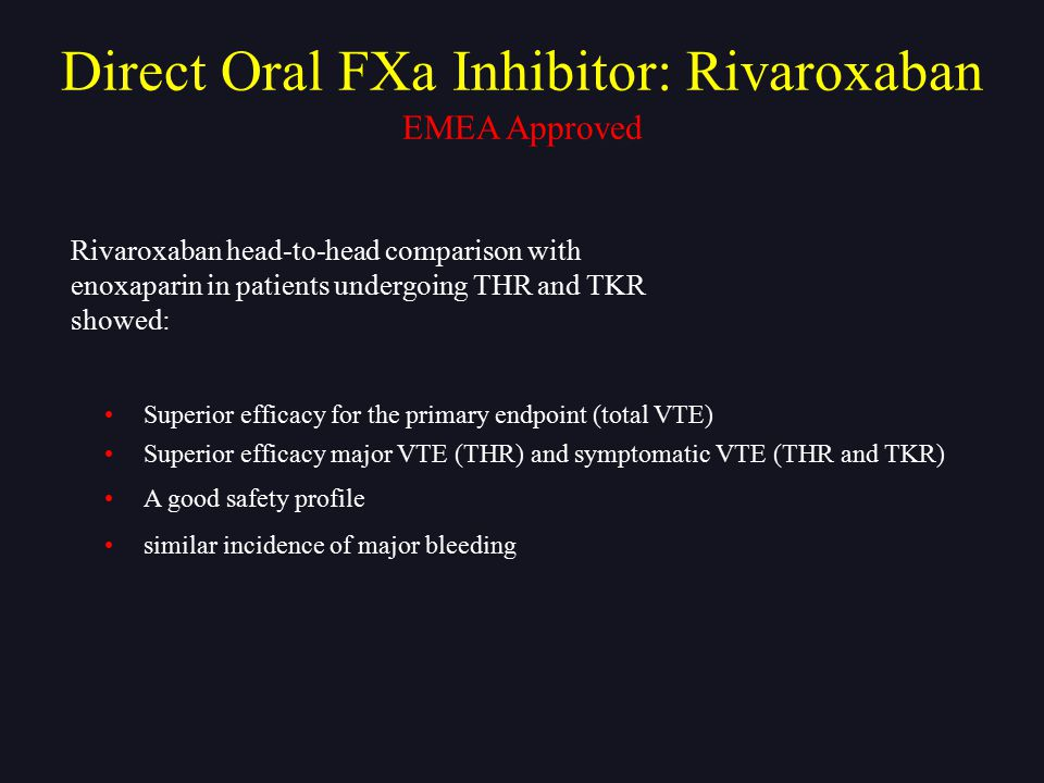 Rivaroxaban head-to-head comparison with enoxaparin in patients undergoing THR and TKR showed: Superior efficacy for the primary endpoint (total VTE)