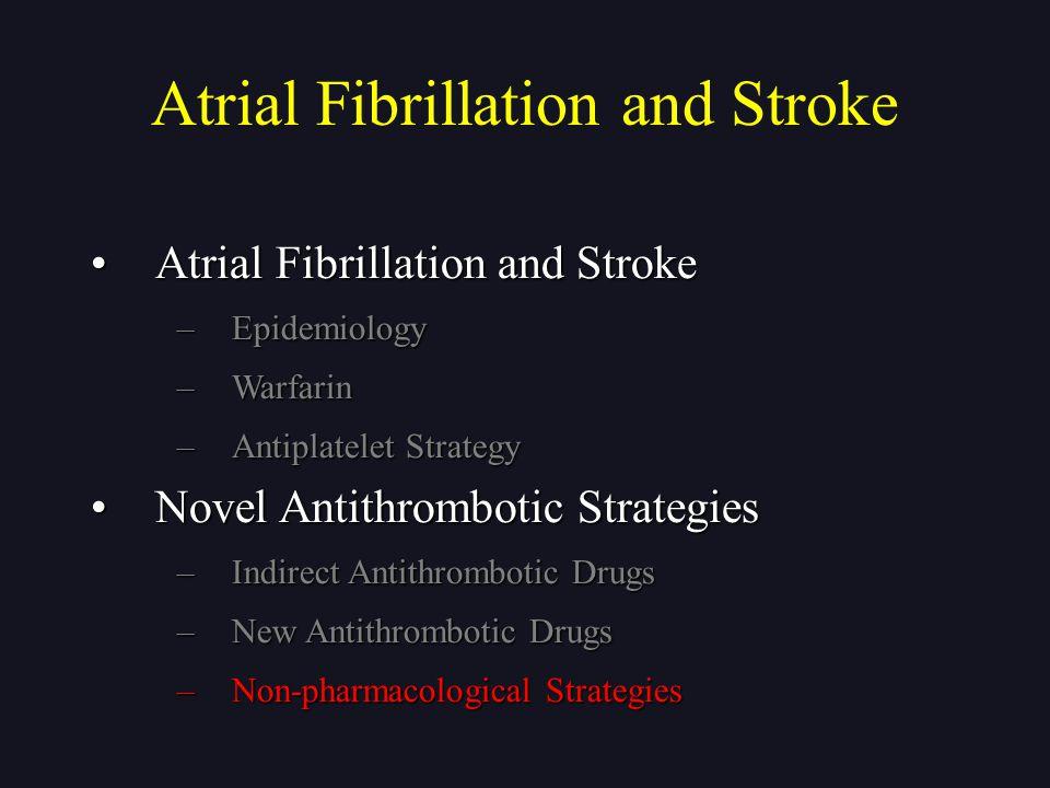 Atrial Fibrillation and StrokeAtrial Fibrillation and Stroke –Epidemiology –Warfarin –Antiplatelet Strategy Novel Antithrombotic StrategiesNovel Antit