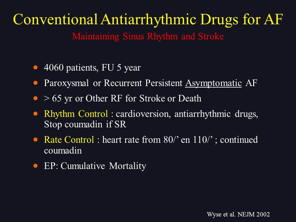Maintaining Sinus Rhythm and Stroke Conventional Antiarrhythmic Drugs for AF Wyse et al. NEJM 2002  4060 patients, FU 5 year  Paroxysmal or Recurren