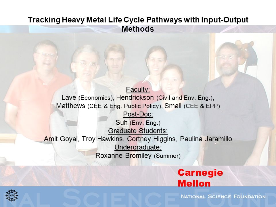 Tracking Heavy Metal Life Cycle Pathways with Input-Output Methods Faculty: Lave (Economics), Hendrickson (Civil and Env.