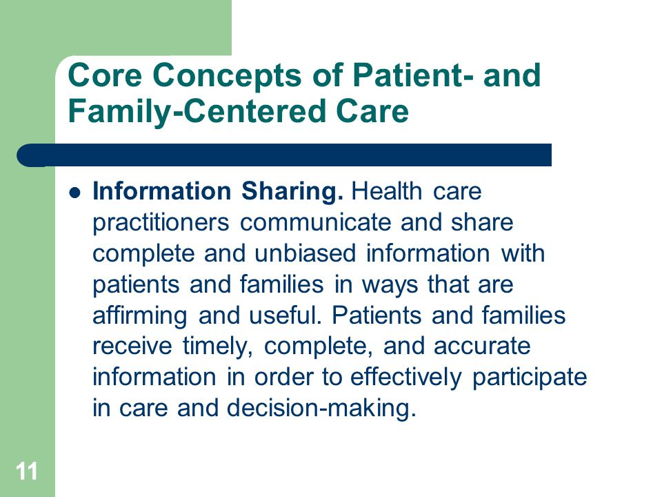 Core Concepts of Patient- and Family-Centered Care Information Sharing.