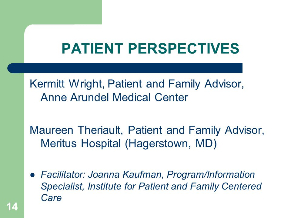 PATIENT PERSPECTIVES Kermitt Wright, Patient and Family Advisor, Anne Arundel Medical Center Maureen Theriault, Patient and Family Advisor, Meritus Hospital (Hagerstown, MD) Facilitator: Joanna Kaufman, Program/Information Specialist, Institute for Patient and Family Centered Care 14