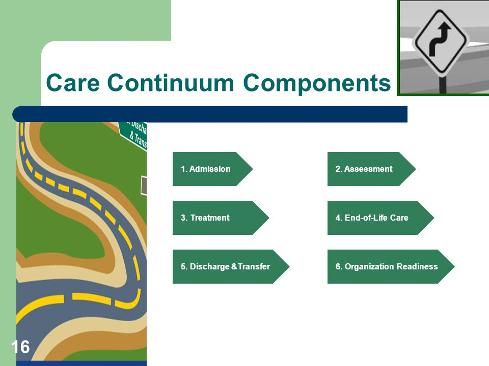 Care Continuum Components 1.Admission 2. Assessment 3.