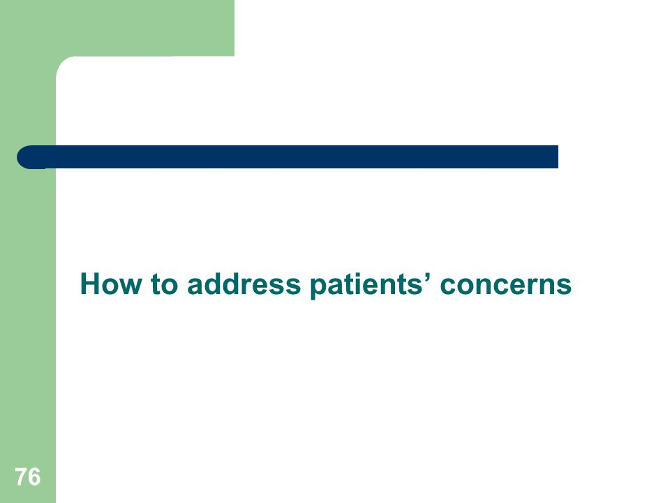 How to address patients' concerns 76