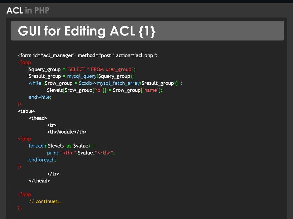 GUI for Editing ACL {1} < php $query_group = SELECT * FROM user_group ; $result_group = mysql_query($query_group); while ($row_group = $csdb->mysql_fetch_array($result_group)) : $levels[$row_group[ id ]] = $row_group[ name ]; endwhile; > Module < php foreach($levels as $value) : print .$value. ; endforeach; > < php // continues… >