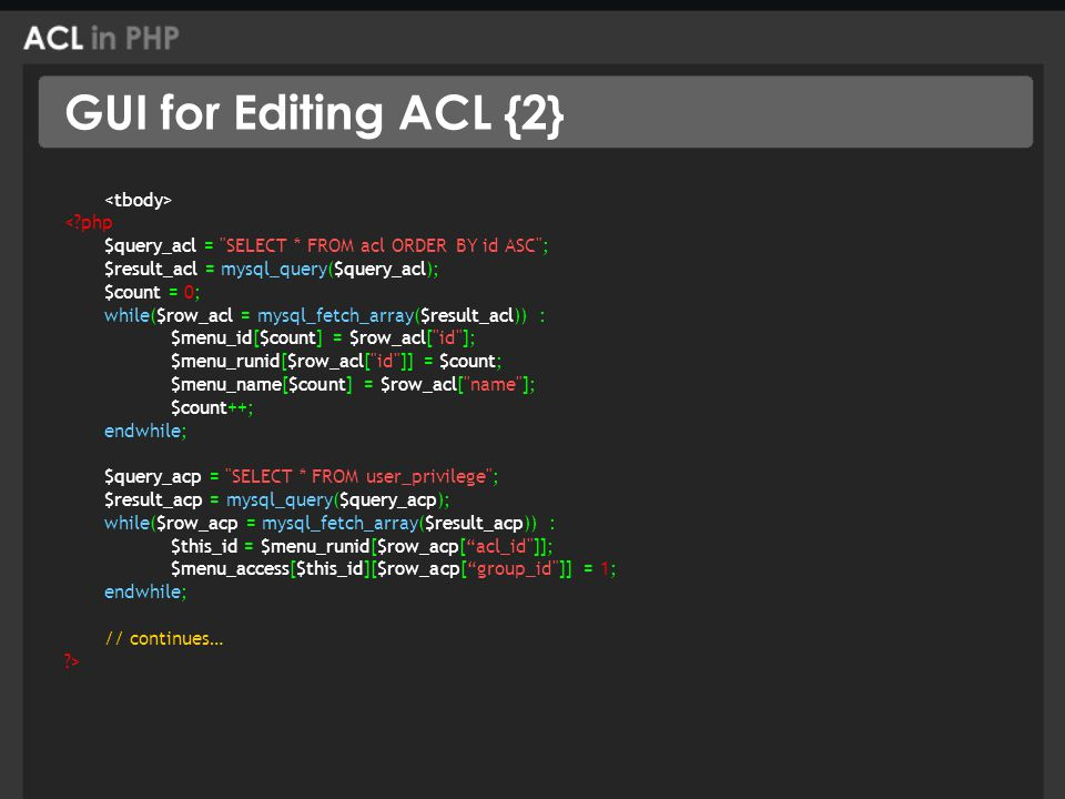 GUI for Editing ACL {2} < php $query_acl = SELECT * FROM acl ORDER BY id ASC ; $result_acl = mysql_query($query_acl); $count = 0; while($row_acl = mysql_fetch_array($result_acl)) : $menu_id[$count] = $row_acl[ id ]; $menu_runid[$row_acl[ id ]] = $count; $menu_name[$count] = $row_acl[ name ]; $count++; endwhile; $query_acp = SELECT * FROM user_privilege ; $result_acp = mysql_query($query_acp); while($row_acp = mysql_fetch_array($result_acp)) : $this_id = $menu_runid[$row_acp[ acl_id ]]; $menu_access[$this_id][$row_acp[ group_id ]] = 1; endwhile; // continues… >