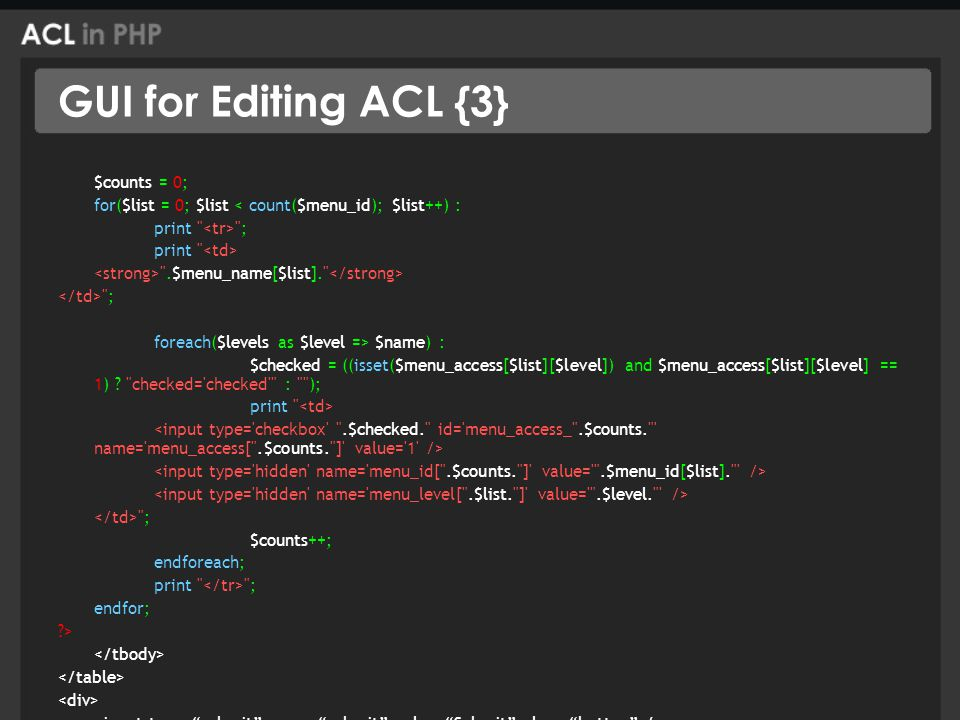GUI for Editing ACL {3} $counts = 0; for($list = 0; $list < count($menu_id); $list++) : print ; print .$menu_name[$list]. ; foreach($levels as $level => $name) : $checked = ((isset($menu_access[$list][$level]) and $menu_access[$list][$level] == 1) .