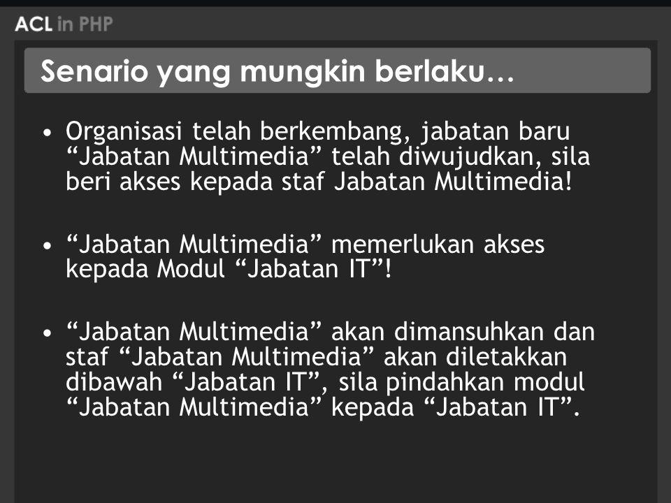 Senario yang mungkin berlaku… Organisasi telah berkembang, jabatan baru Jabatan Multimedia telah diwujudkan, sila beri akses kepada staf Jabatan Multimedia.