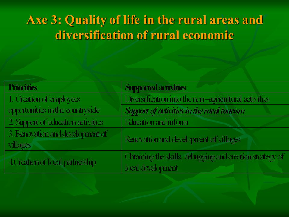 Axe 3: Quality of life in the rural areas and diversification of rural economic