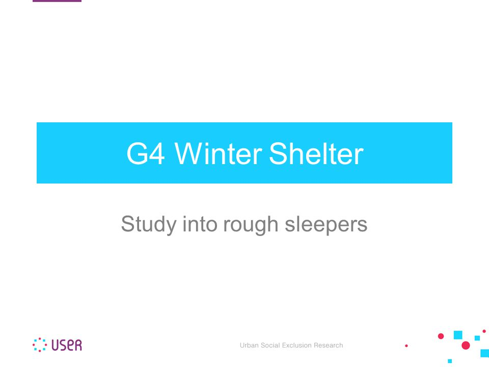 G4 Winter Shelter Study into rough sleepers