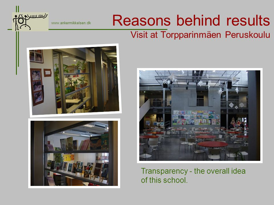 Reasons behind results Visit at Torpparinmäen Peruskoulu www.ankermikkelsen.dk Transparency - the overall idea of this school.