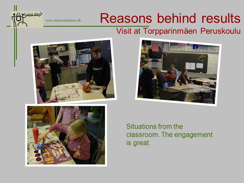 Reasons behind results Visit at Torpparinmäen Peruskoulu www.ankermikkelsen.dk Situations from the classroom.