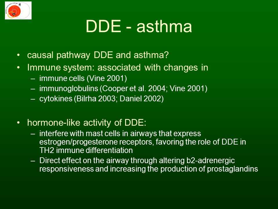 DDE - asthma causal pathway DDE and asthma? Immune system: associated with changes in –immune cells (Vine 2001) –immunoglobulins (Cooper et al. 2004;