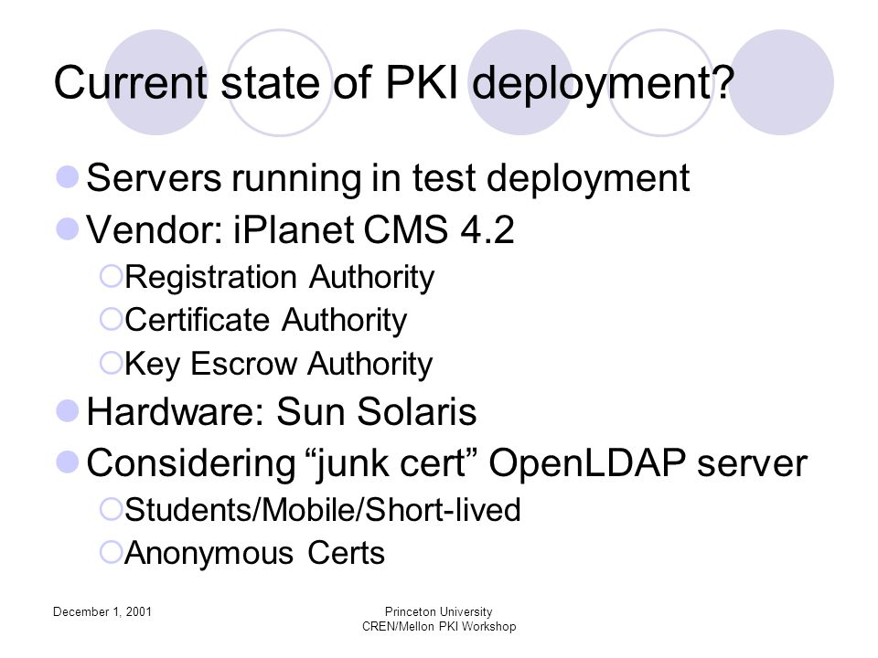 December 1, 2001Princeton University CREN/Mellon PKI Workshop Current state of PKI deployment.
