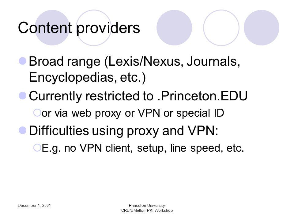 December 1, 2001Princeton University CREN/Mellon PKI Workshop Content providers Broad range (Lexis/Nexus, Journals, Encyclopedias, etc.) Currently res