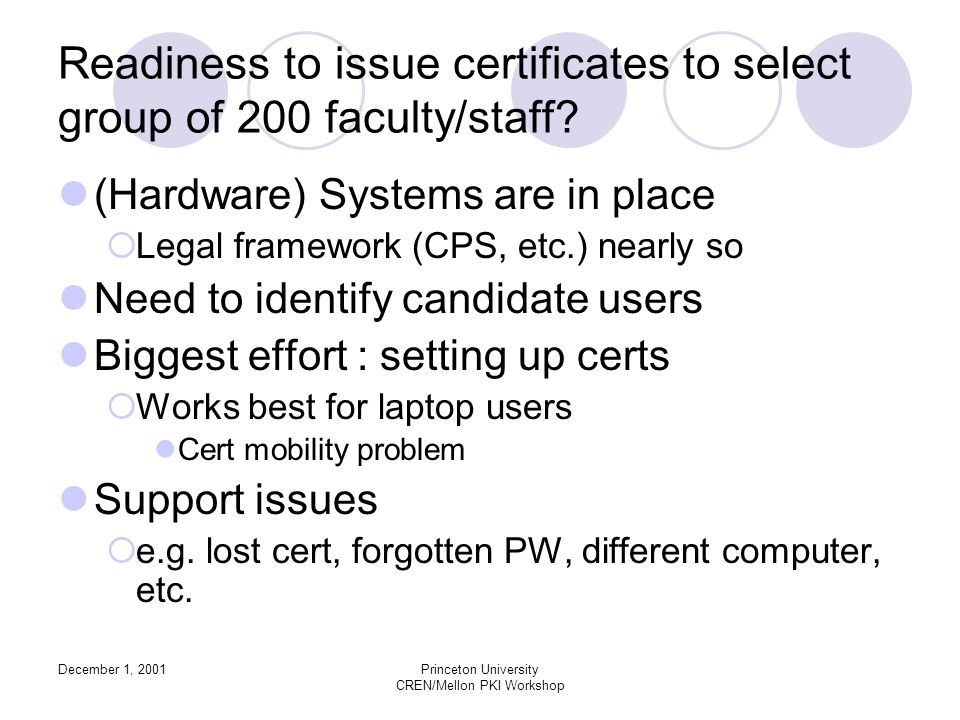 December 1, 2001Princeton University CREN/Mellon PKI Workshop Readiness to issue certificates to select group of 200 faculty/staff.
