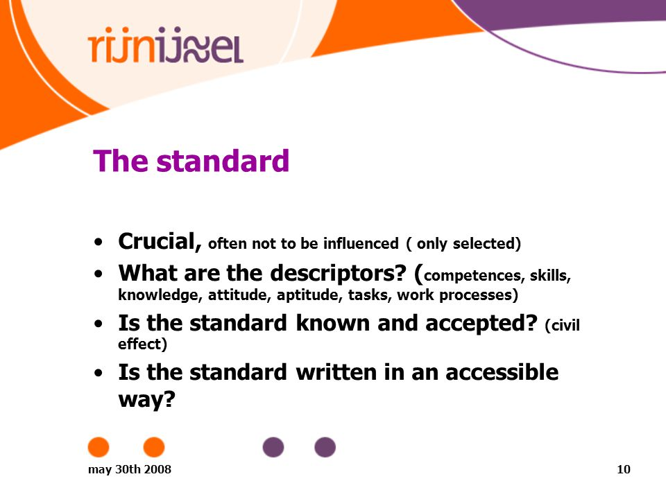 may 30th 200810 The standard Crucial, often not to be influenced ( only selected) What are the descriptors.