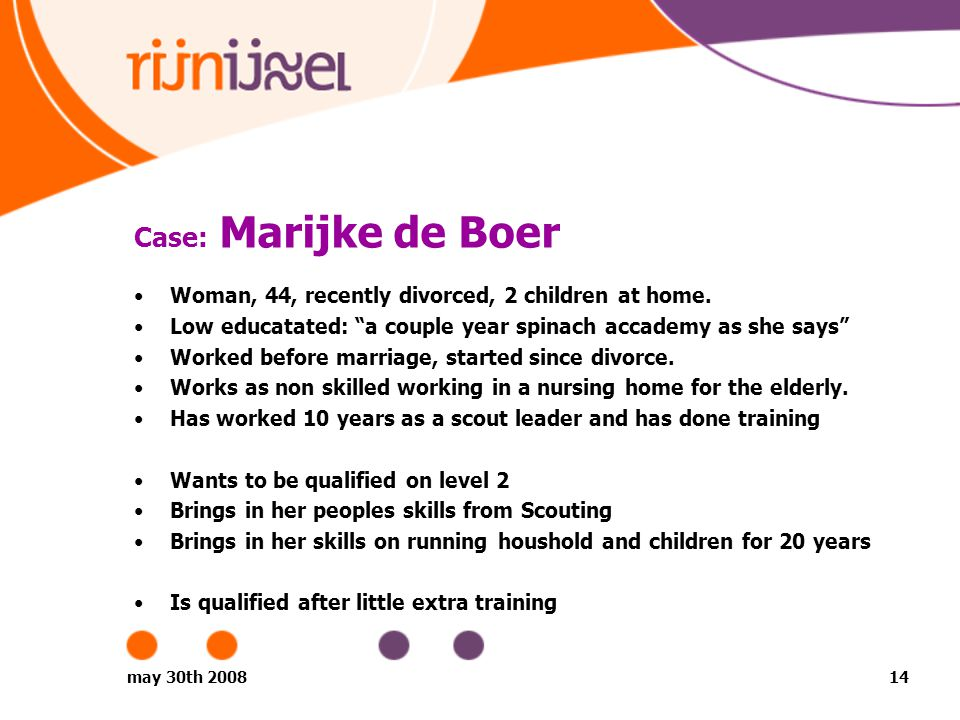 may 30th 200814 Case: Marijke de Boer Woman, 44, recently divorced, 2 children at home.