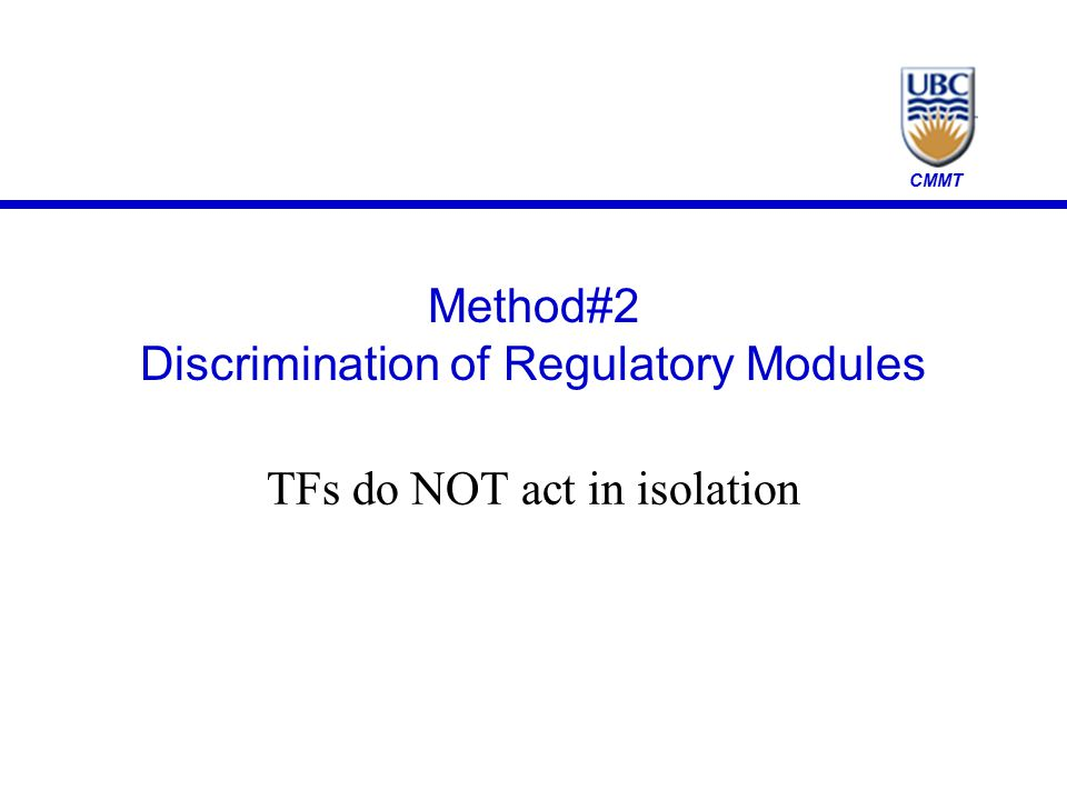 CMMT Method#2 Discrimination of Regulatory Modules TFs do NOT act in isolation
