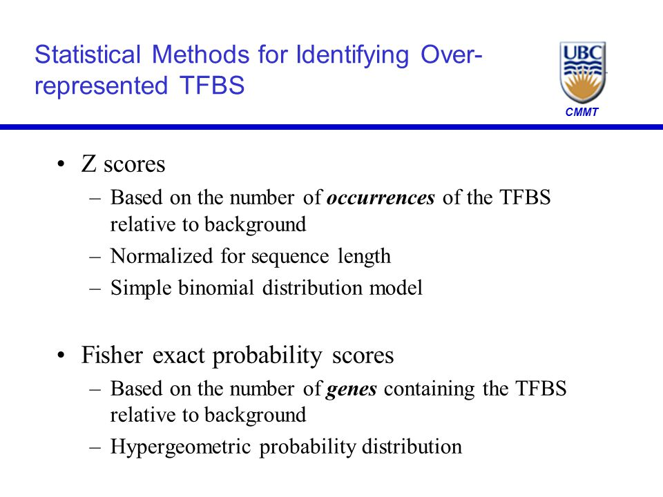 CMMT Statistical Methods for Identifying Over- represented TFBS Z scores –Based on the number of occurrences of the TFBS relative to background –Norma