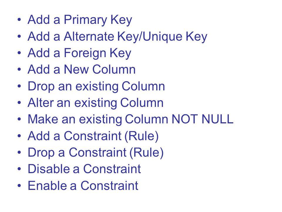 Add a Primary Key Add a Alternate Key/Unique Key Add a Foreign Key Add a New Column Drop an existing Column Alter an existing Column Make an existing Column NOT NULL Add a Constraint (Rule) Drop a Constraint (Rule) Disable a Constraint Enable a Constraint