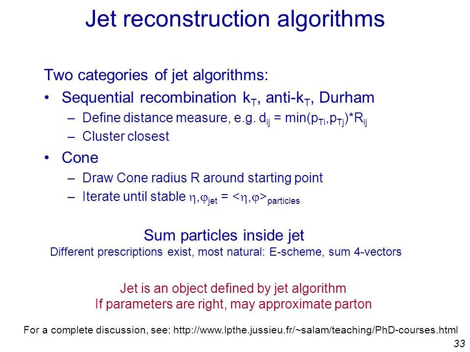 33 Jet reconstruction algorithms Two categories of jet algorithms: Sequential recombination k T, anti-k T, Durham –Define distance measure, e.g.