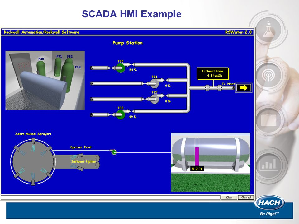 SCADA HMI Example Collects data from field devices such as PLC's/RTU's Allows Users to control devices, change set points in PLC's. Gives users a real