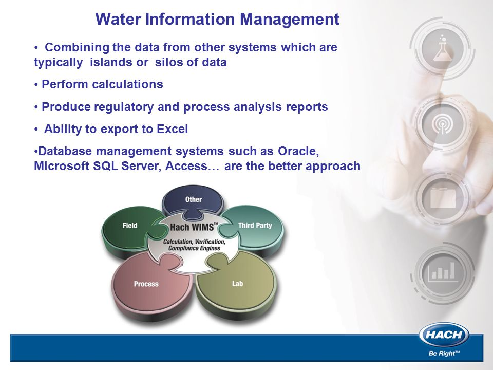 Water Information Management Combining the data from other systems which are typically islands or silos of data Perform calculations Produce regulator
