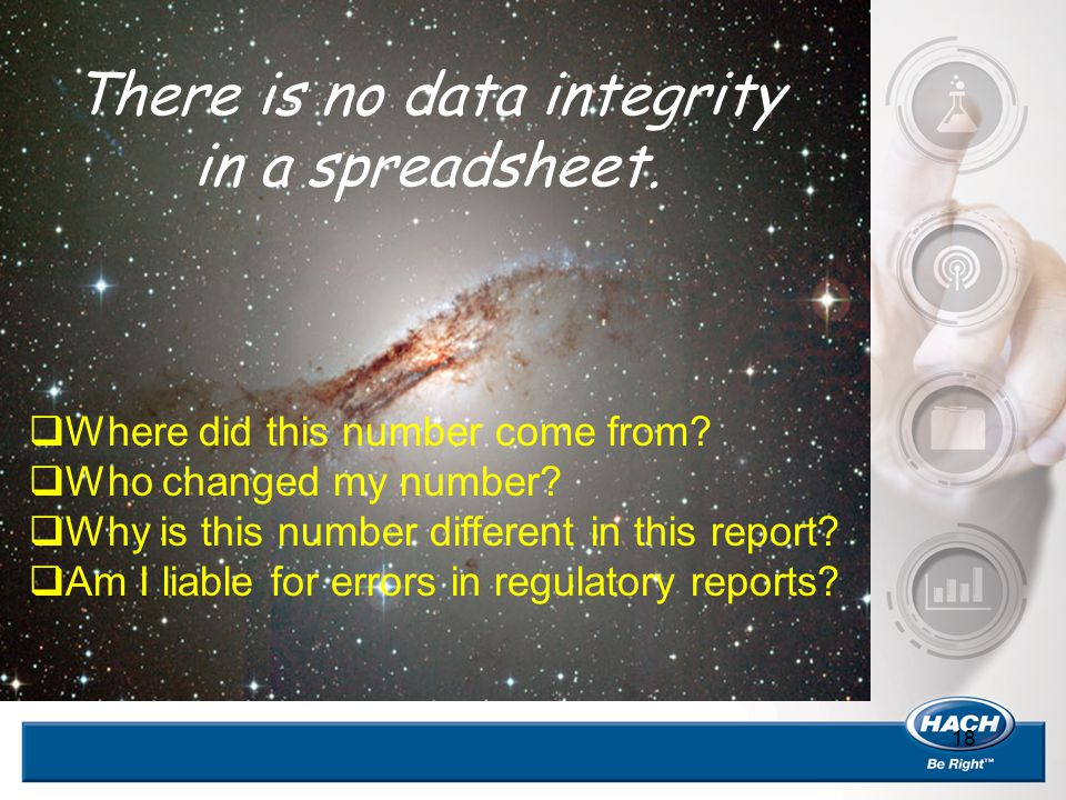 18 There is no data integrity in a spreadsheet.  Where did this number come from?  Who changed my number?  Why is this number different in this rep
