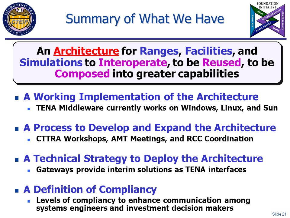 Slide 21 Summary of What We Have A Working Implementation of the Architecture TENA Middleware currently works on Windows, Linux, and Sun A Process to