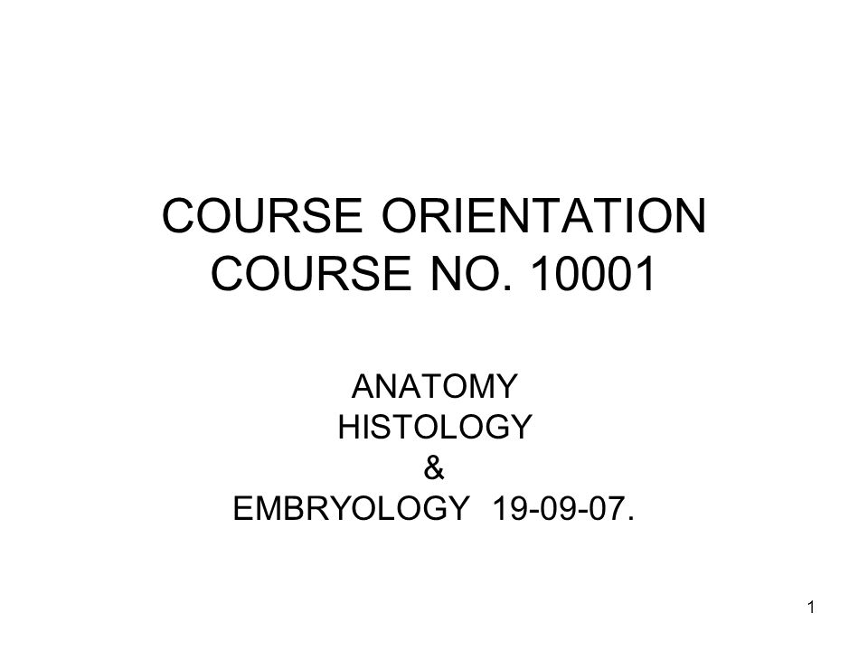 1 COURSE ORIENTATION COURSE NO. 10001 ANATOMY HISTOLOGY & EMBRYOLOGY 19-09-07.