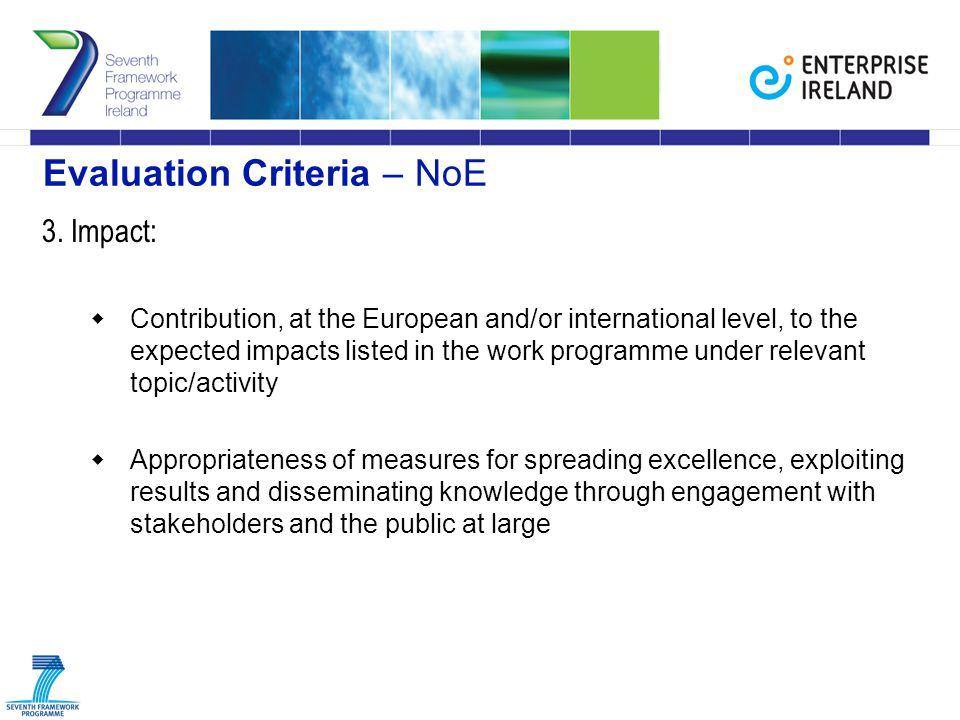 Evaluation Criteria – NoE 3.