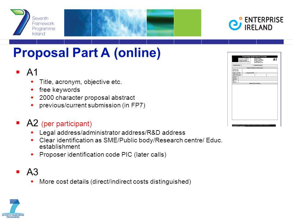 Proposal Part A (online)  A1  Title, acronym, objective etc.