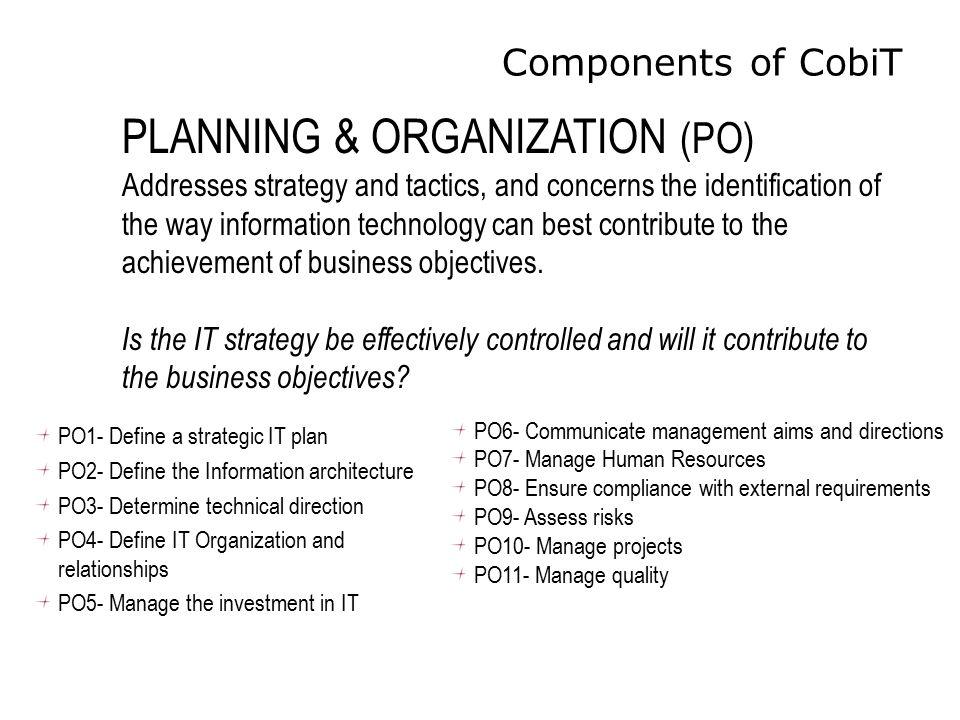 Components of CobiT PO1- Define a strategic IT plan PO2- Define the Information architecture PO3- Determine technical direction PO4- Define IT Organiz