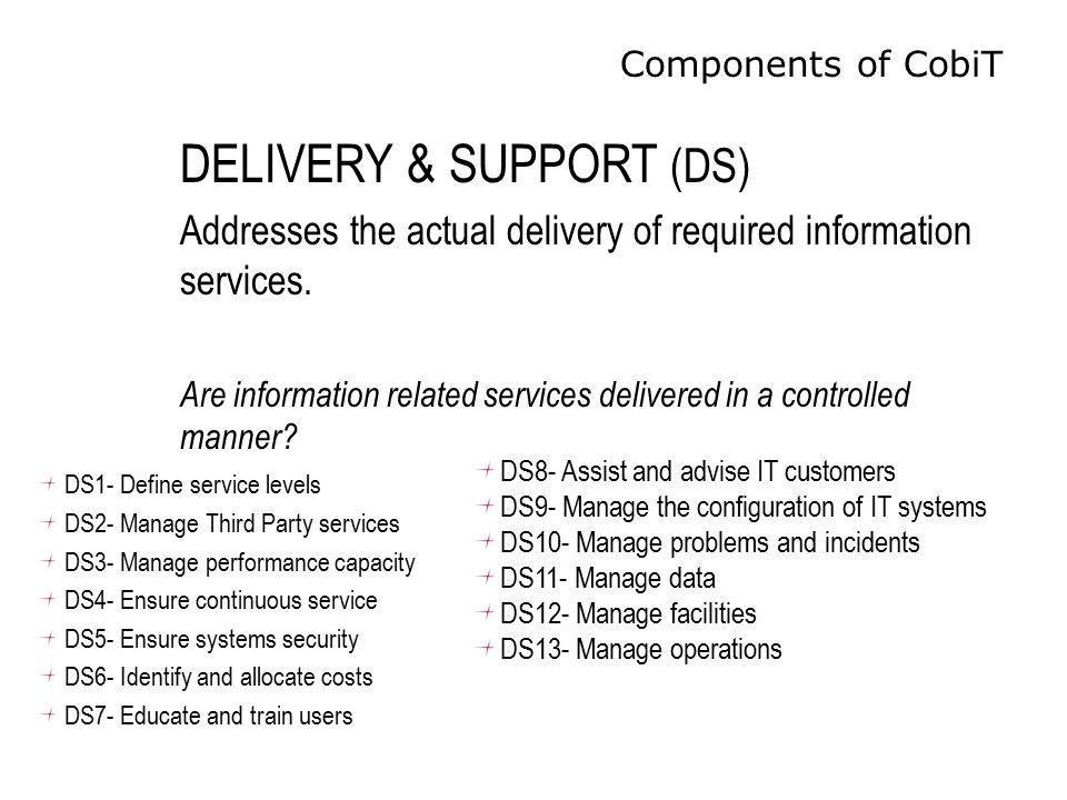 Components of CobiT DS1- Define service levels DS2- Manage Third Party services DS3- Manage performance capacity DS4- Ensure continuous service DS5- E