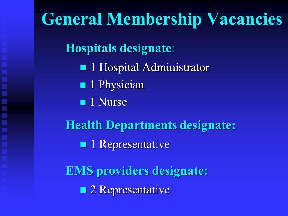 General Membership Vacancies Hospitals designate: 1 Hospital Administrator 1 Hospital Administrator 1 Physician 1 Physician 1 Nurse 1 Nurse Health Departments designate: 1 Representative 1 Representative EMS providers designate: 2 Representative 2 Representative