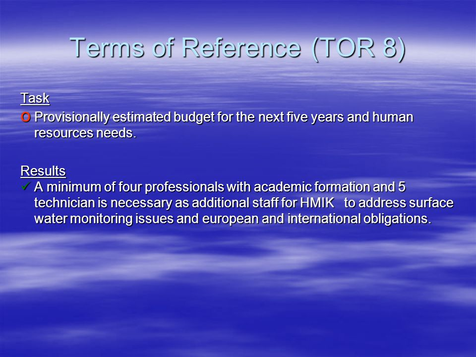 Terms of Reference (TOR 8) Task o Provisionally estimated budget for the next five years and human resources needs. Results A minimum of four professi