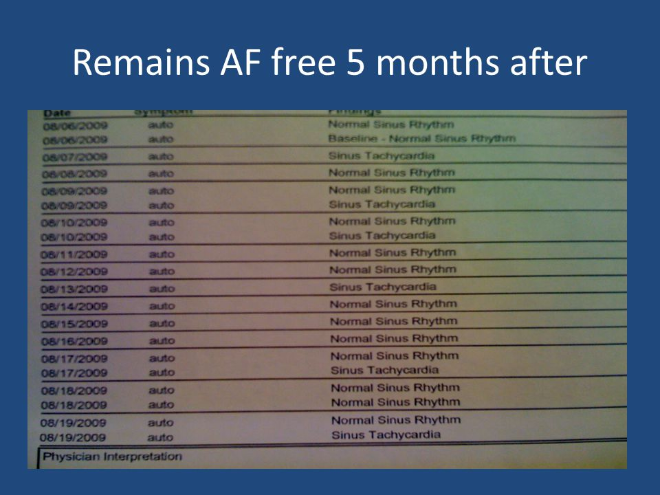 Remains AF free 5 months after