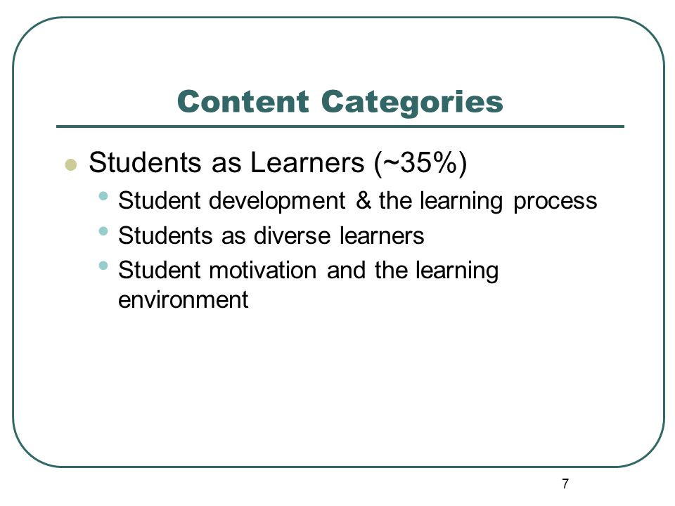 48 Approaches for accommodating various learning styles, intelligences, or exceptionalities: Differentiated instruction Alternative assessments Testing modifications