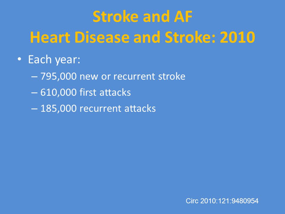 Each year: – 795,000 new or recurrent stroke – 610,000 first attacks – 185,000 recurrent attacks Circ 2010:121:9480954 Stroke and AF Heart Disease and Stroke: 2010