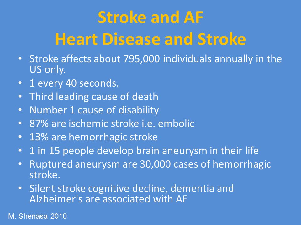 Stroke and AF Heart Disease and Stroke Stroke affects about 795,000 individuals annually in the US only.