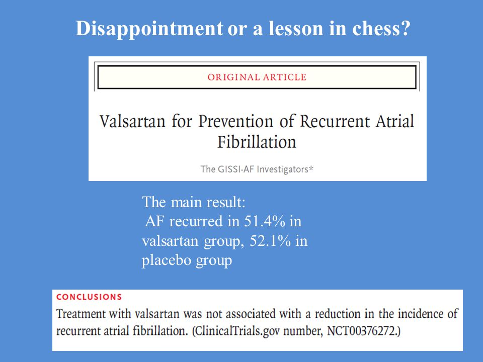 The main result: AF recurred in 51.4% in valsartan group, 52.1% in placebo group Disappointment or a lesson in chess?