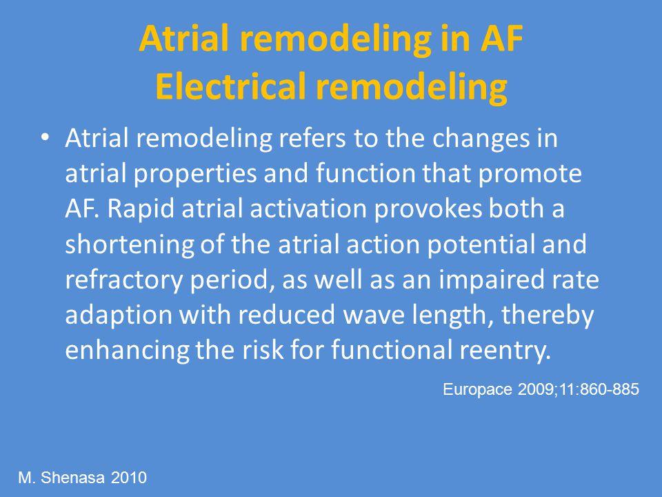 Atrial remodeling in AF Electrical remodeling Atrial remodeling refers to the changes in atrial properties and function that promote AF.