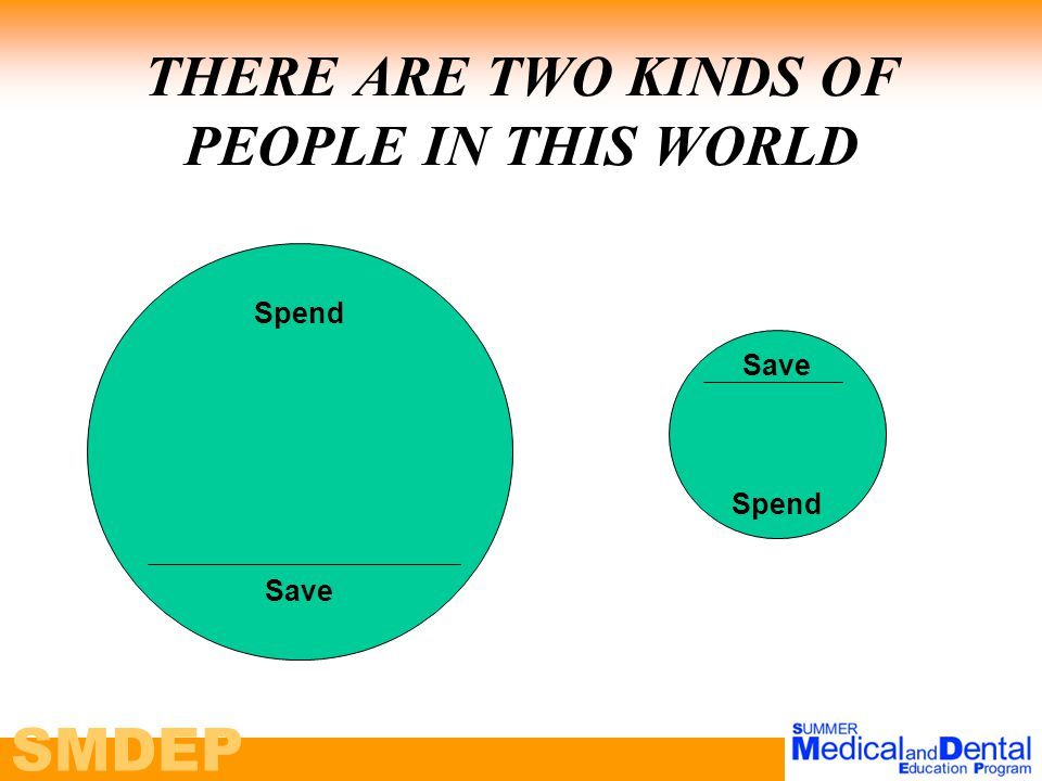 SMDEP THERE ARE TWO KINDS OF PEOPLE IN THIS WORLD Spend Save Spend