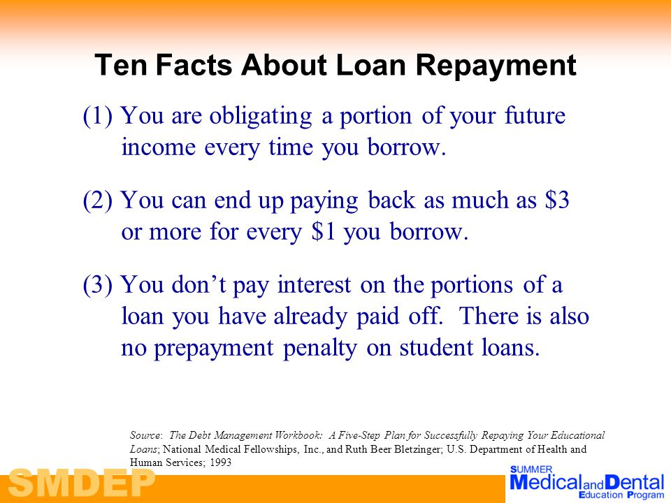SMDEP Ten Facts About Loan Repayment (1) You are obligating a portion of your future income every time you borrow.