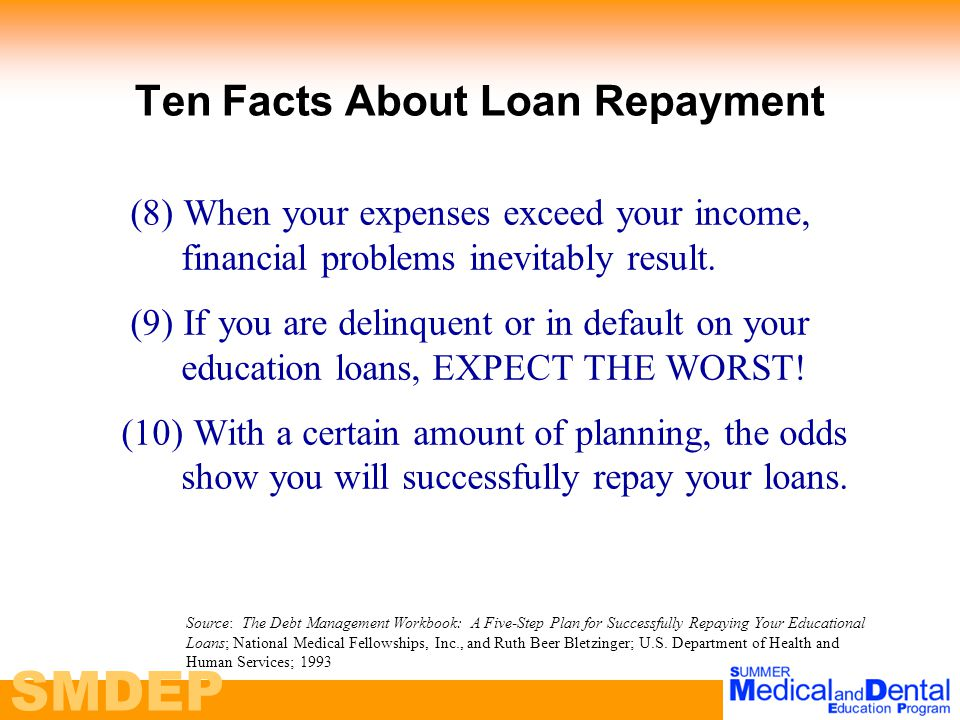 SMDEP Ten Facts About Loan Repayment (8) When your expenses exceed your income, financial problems inevitably result.