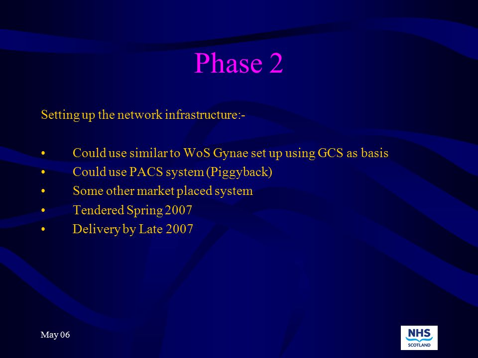 May 06 Phase 2 Setting up the network infrastructure:- Could use similar to WoS Gynae set up using GCS as basis Could use PACS system (Piggyback) Some other market placed system Tendered Spring 2007 Delivery by Late 2007