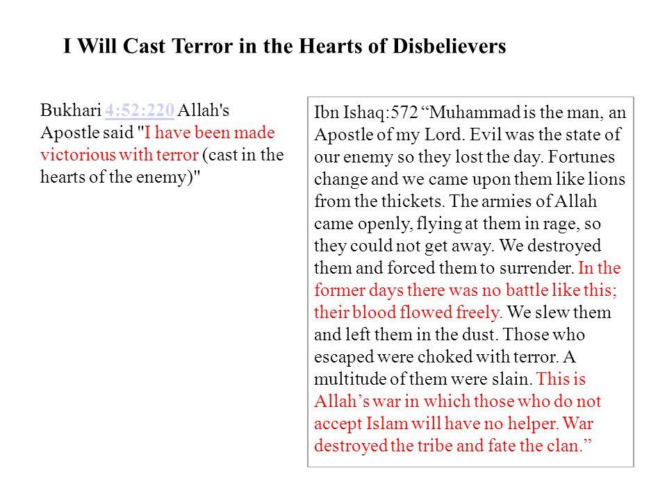 I Will Cast Terror in the Hearts of Disbelievers Bukhari 4:52:220 Allah's Apostle said