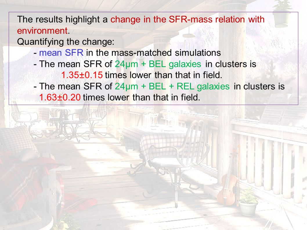The results highlight a change in the SFR-mass relation with environment. Quantifying the change: - mean SFR in the mass-matched simulations - The mea