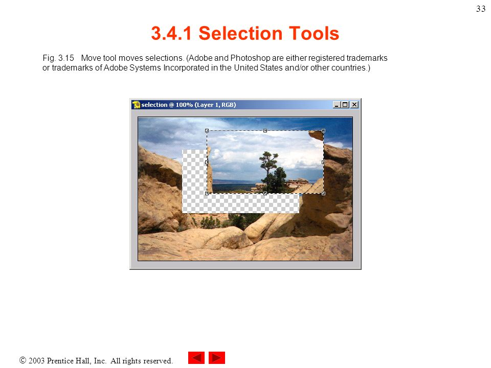  2003 Prentice Hall, Inc. All rights reserved. 33 3.4.1 Selection Tools Fig.